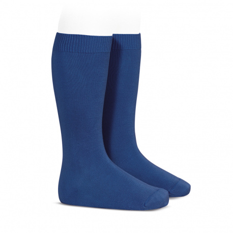 Plain stitch basic knee high socks INDIGO BLUE