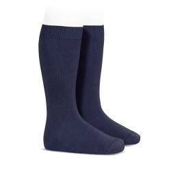 Chaussettes hautes basiques unies BLEU MARINE
