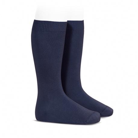 Plain stitch basic knee high socks NAVY BLUE