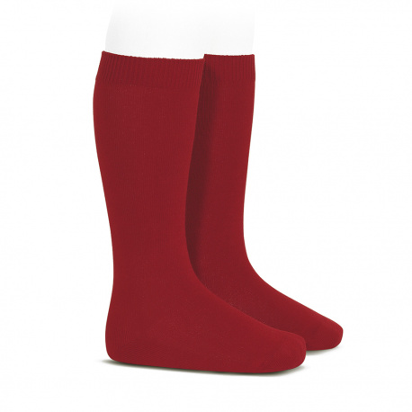 Plain stitch basic knee high socks CHERRY