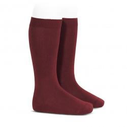 Plain stitch basic knee high socks GARNET