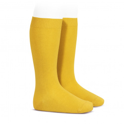 Plain stitch basic knee high socks YELLOW