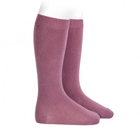 Chaussettes hautes basiques unies CASSIS