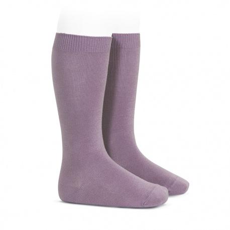 Plain stitch basic knee high socks AMETHYST