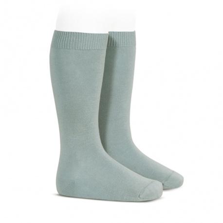 Plain stitch basic knee high socks DRY GREEN