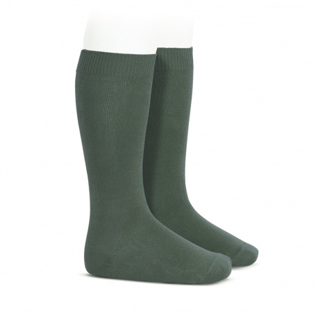 Plain stitch basic knee high socks LICHEN GREEN