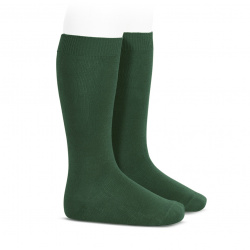 Plain stitch basic knee high socks BOTTLE GREEN