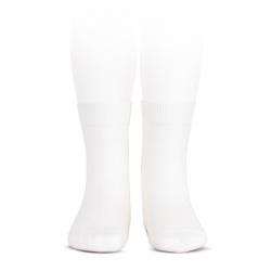 Plain stitch basic short socks WHITE