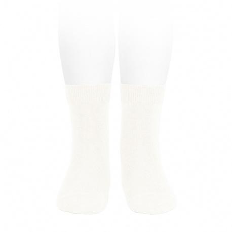 Plain stitch basic short socks CREAM