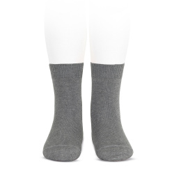 Chaussettes courtes unies basiques GRIS CLAIR