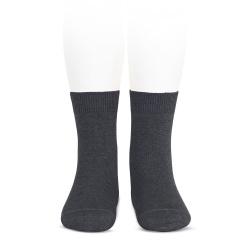 Plain stitch basic short socks ANTHRACITE