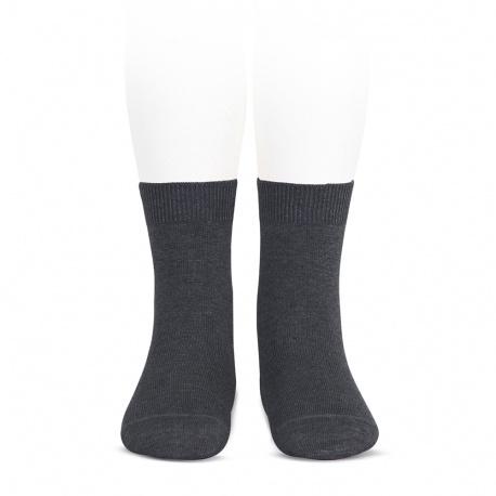 Chaussettes courtes unies basiques ANTHRACITE