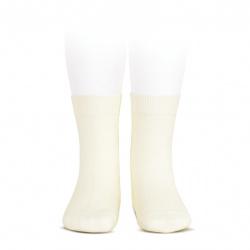 Plain stitch basic short socks BEIGE