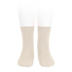 Plain stitch basic short socks LINEN