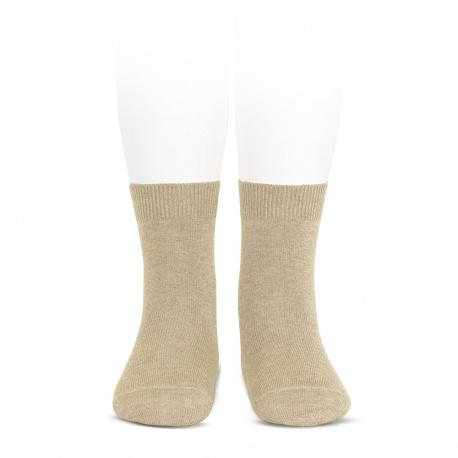 Plain stitch basic short socks NOUGAT