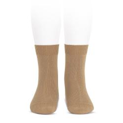 Plain stitch basic short socks CAMEL