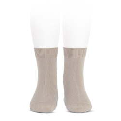 Plain stitch basic short socks STONE