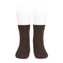 Chaussettes courtes unies basiques MARRON
