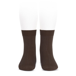 Plain stitch basic short socks BROWN