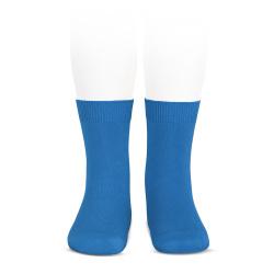 Plain stitch basic short socks ELECTRIC BLUE