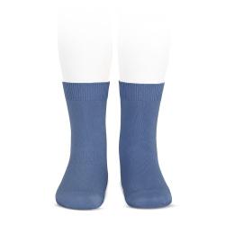 Plain stitch basic short socks FRENCH BLUE