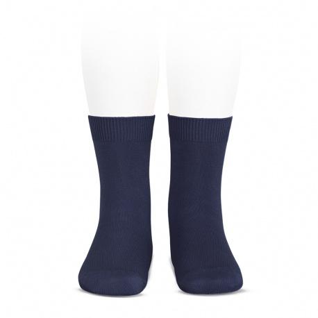 Plain stitch basic short socks NAVY BLUE