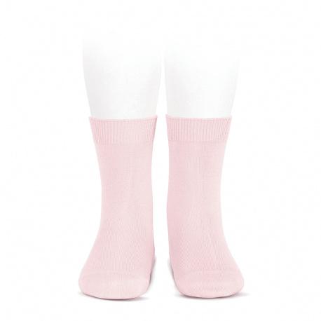 Chaussettes courtes unies basiques ROSE