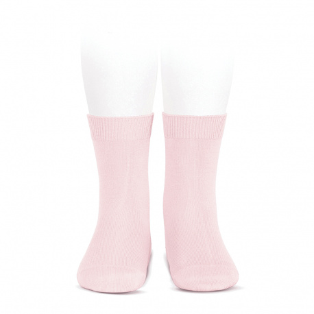 Plain stitch basic short socks PINK