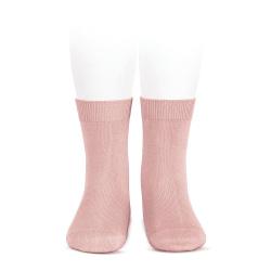 Plain stitch basic short socks PALE PINK