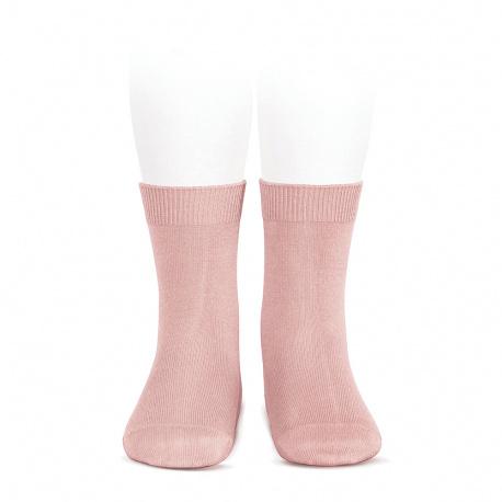 Chaussettes courtes unies basiques PALE ROSE