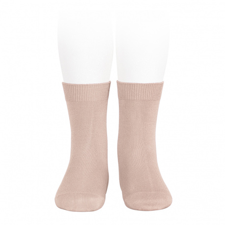 Plain stitch basic short socks OLD ROSE
