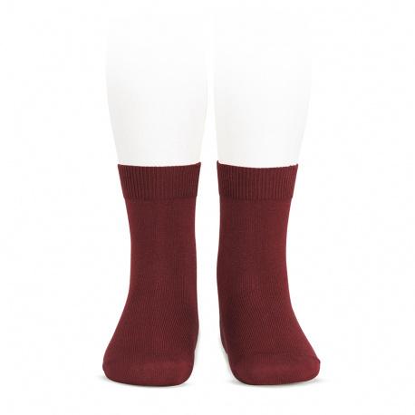 Plain stitch basic short socks BURGUNDY