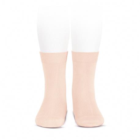 Plain stitch basic short socks NUDE