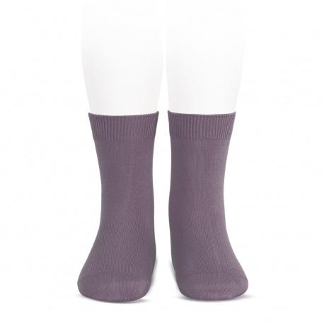 Plain stitch basic short socks AMETHYST
