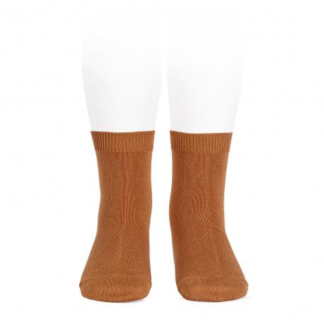 Plain stitch basic short socks CINNAMON
