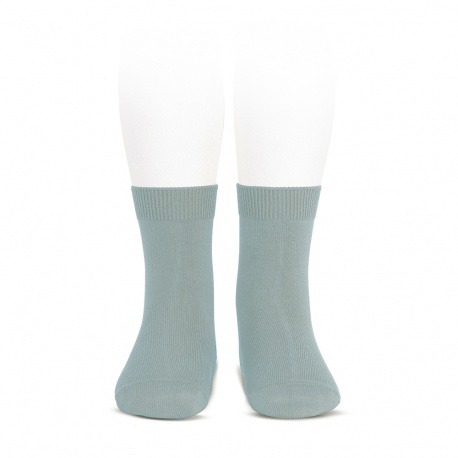 Plain stitch basic short socks DRY GREEN