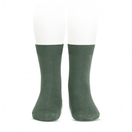 Plain stitch basic short socks LICHEN GREEN