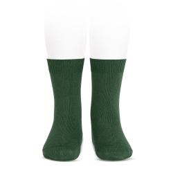 Plain stitch basic short socks BOTTLE GREEN