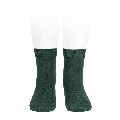 Plain stitch basic short socks PINE