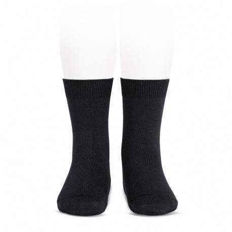 Plain stitch basic short socks BLACK