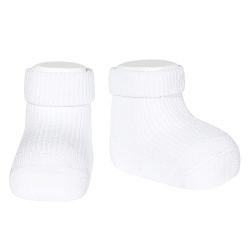 1x1 ankle socks with folded cuff WHITE