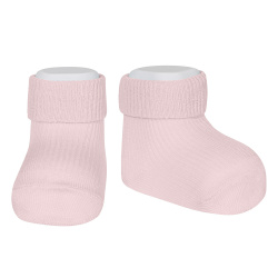 Calcetines tobilleros canalé puño vuelto ROSA
