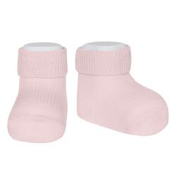 Chaussettes courtes côtelées bordure pliée ROSE