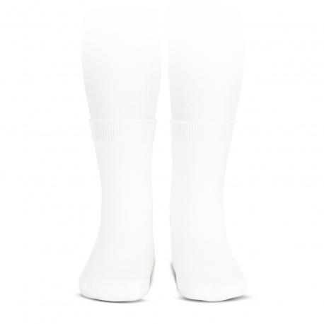 Elastic cotton short socks WHITE