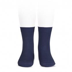Elastic cotton short socks NAVY BLUE