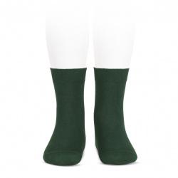 Elastic cotton short socks BOTTLE GREEN