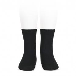 Elastic cotton short socks BLACK