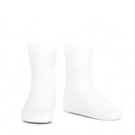 Socquettes point lis coton élastique BLANC