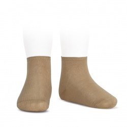 Elastic cotton ankle socks CAMEL