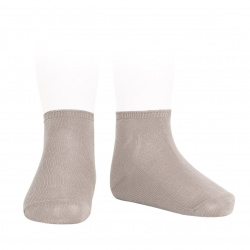 Elastic cotton ankle socks STONE